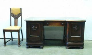 German Art Deco Office Suite Bookcase Desk and Chair Oak 1930