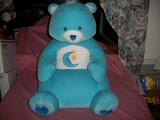 Care Bear 2002 Child Size Blue Bedtime Bear Stuffed Plush Chair Retired RARE