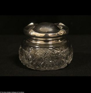 Art Nouveau Antique 1900 Sterling Silver Cut Glass Boudoir Jar