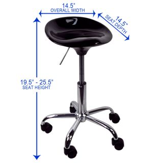 Black Salon Stool Chair Facial Tattoo Beauty Mobile Salon ABS Bar Hydraulic New