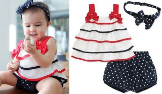 3pcs Baby Girl Kids Newborn Top Skirt Dress Headband Pants Outfit Sets Clothing