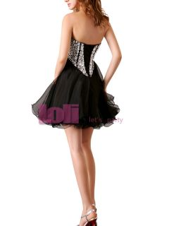 Women Shining Short Beaded Organza Ball Cocktail Party Homecoming Prom Dress