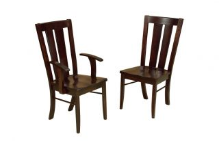 Amish Round Dining Table Chairs Set 5 Piece Solid Maple Wood Black Onyx New