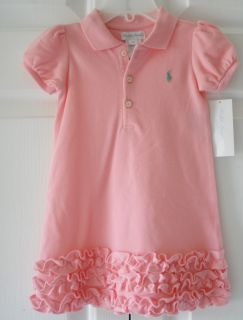 Ralph Lauren Baby Infant Girls Aqua Pink Wht Polo Dress Bloomer Set 6 9 M