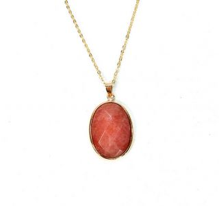 Dyed Jade 18K Rose Gold Plated 20mm Oval Pendant Necklace Pink