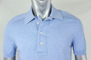 Tom Ford Mens Light Baby Blue Short Sleeve Casual Button Collar Polo Shirt 48