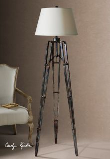 Metal Floor Light Lamp Sturdy Tripod Design Round Off White Hardback Shade New