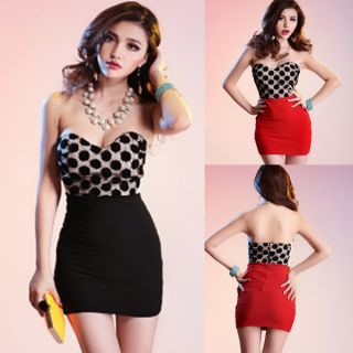 Off Shoulder Women Sexy Mini Dress Party Club Strapless Dots Splicing Tube Dress