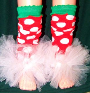 Christmas Polka Dot Leg Warmers with Ruffles Girls 2T 4T Soo Cute in USA