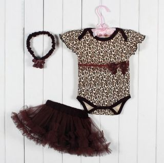 Baby Girl Children Kid Headband Romper Skirt Bodysuit Leopard Outfit Set Clothes