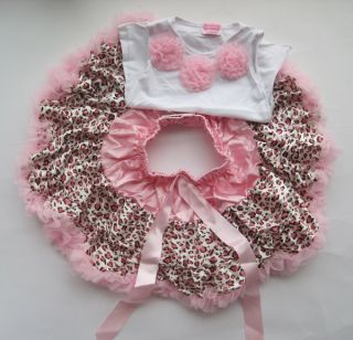 2pcs Baby Girl Kids Tutu Dress Top Skirt Brown Pink Black Dress Leopard Clothes