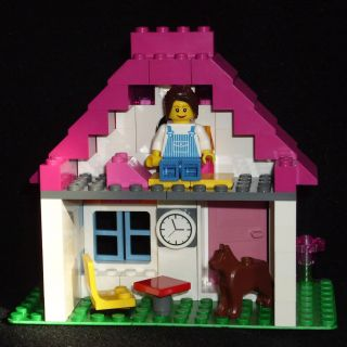 Lego Pink Bricks Girls House Set Female Girl Minifig Dog 92 Pcs