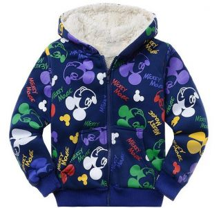 Mickey Mouse Kids Toddler Boys Girl Zipper Winter Thick Fleece Hoodies Outerwear