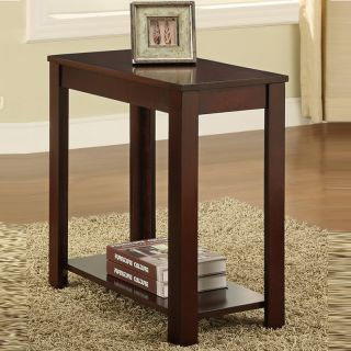 Cherry Wood Finish Rectangular Side Table Nightstand with A Lower Panel Shelf