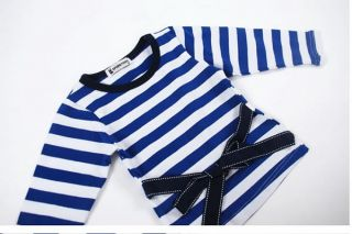 3pcs Baby Girl Kid Coat Tshirt Jeans Outfit Set Clothes Navy Blue Sailor Striped