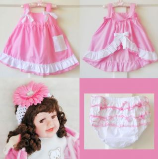 Cute Baby Girl Ruffle Top Dress Nappy Diaper Cover Bloomer Pants Headband