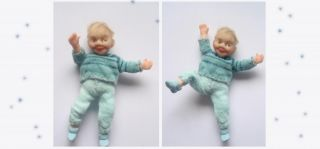 "Miniature Handmade Mini Baby Boy OOAK Dollhouse Art Doll 1 12 Scale 2 3 4 "" Tall"