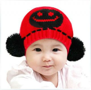 Stylish Baby Girls Boys Knit Crochet Dual Ball Winter Warmer Beanie Cap Hat RD