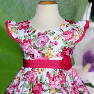 Flower Pink Birthday Party Clothing Baby Girls Dresses Kids Size 5 6 7 Year