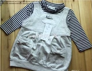 Baby Toddler Grey Suit Dress with Striped Jumper Sweater