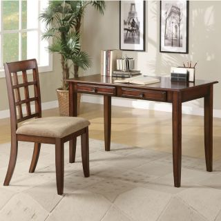 Coaster Wonderful 2 PC Light Cherry Wood Writing Desk Table w Chair Two Drawers
