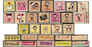Smirk Wooden Rubber Stamps Wood Choose Your Design 1