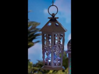 Solar Color Changing Metal LED Light Lantern Moroccan Outdoor Garden Patio Art