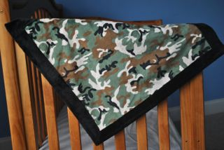 Military Print Baby Boy Blanket Quilt Fabric Minky