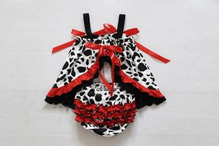 2pcs Baby Girls Dress Shorts Pants Outfit Clothes Cow Ruffle Size 0 24months