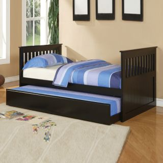 Traditional Mission Low Kids Youth Black Cherry White Twin Day Bed with Trundle