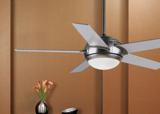 "New 44"" Brushed Steel Ceiling Fan Light Kit Remote"