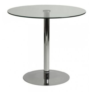 Modern Clear Tempered Glass Dining Table Chrome Base
