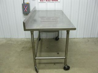 "5' x 30"" Stainless Steel Heavy Duty Work Table w Back Splash Roll Under 60"""