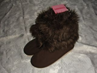 Girls Gymboree Girls Best Friend Brown Faux Fur Boots Size 13 New $39
