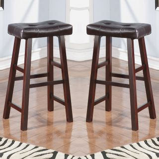 Set of 2 White Black Brown Walnut Faux Leather Saddle Seat Bar Stools Barstools