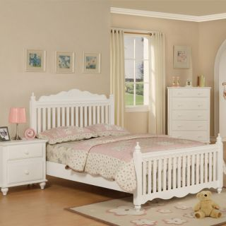 New Elegant Youth Cottage Mission Style White Wood Twin Bed for Kids Young Girls