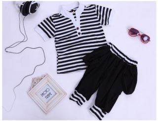 "Classic Toddler Boys ""V""Collar Black White Striped Harem Pant Kids Set Suits"