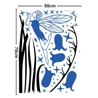 Bell Flowers Fairy Blue Silhouette Removable Wall Sticker Decal