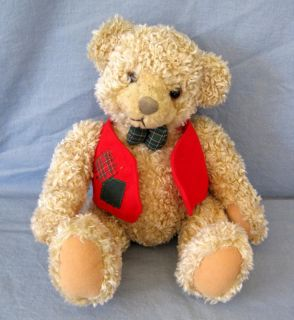 Teddy Bear Stuffed Plush Hallmark Cards Sitting Red Vest Christmas Oatmeal
