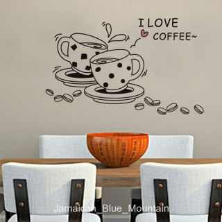 Love Coffee Cups Beans Wall Sticker Decal