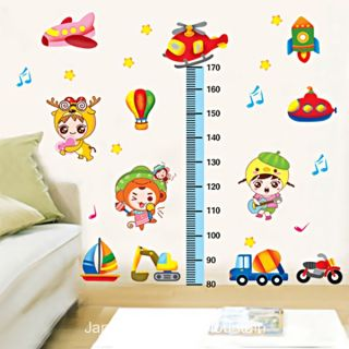Car Helicopter Rocket Kids Growth Chart Ruler Removable Wall Sticker Decal
