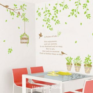 Garden Planter Hanging Leaves Bird Cage Wall Sticker Decal