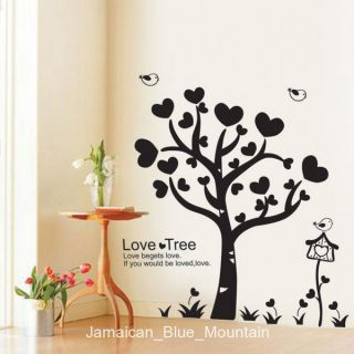 Heart Leaves Love Tree Black Wall Sticker Decal