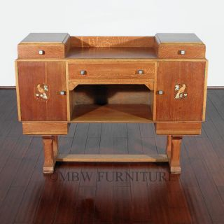 Antique English Solid Golden Oak Art Deco Buffet Sideboard Server c1930 P20A