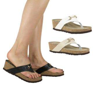 Ladies Summer Beach Cork Comfy Padded Eva Leather Thong Toe Post Flat Sandals