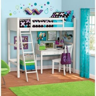 Twin Loft White Bed Wood Bunk Kids Teens Student Dorm Room Wooden Ladder Desk