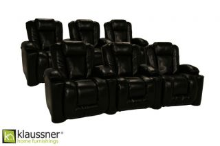 Klaussner Augustus 6 Seats Home Theater Seating Chairs Black Leather