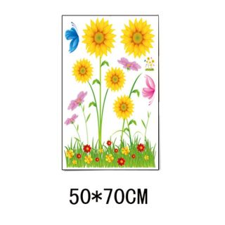 Sunflower Daisy Grass Garden Butterfly Removable Wall Sticker Decal