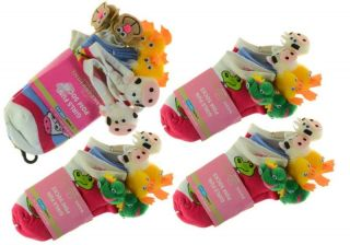 Set 12 Pairs Girls Animal Pom Pom Socks Cow Monkey Frog Duck Farm Fun Novelty