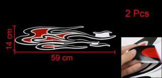 2 Pcs Vehicle Car Decorative Flame Shaped Decal Sticker Black Red